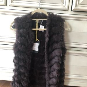 Rabbit fur vest real